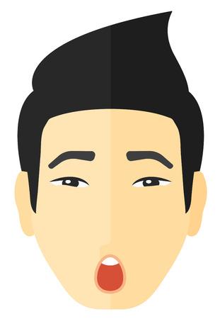 Scared man met open mond vector platte ontwerp illustratie op een witte achtergrond.