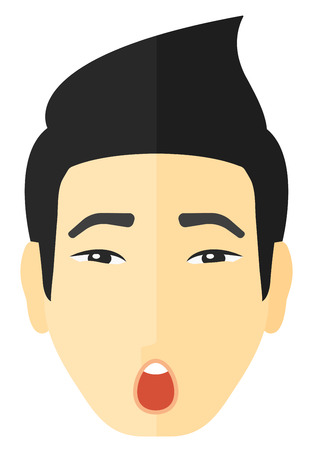 man head: Scared man with open mouth vector flat design illustration isolated on white background.