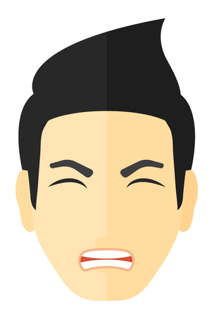 Screaming aggressive man vector flat design illustration isolated on white background.