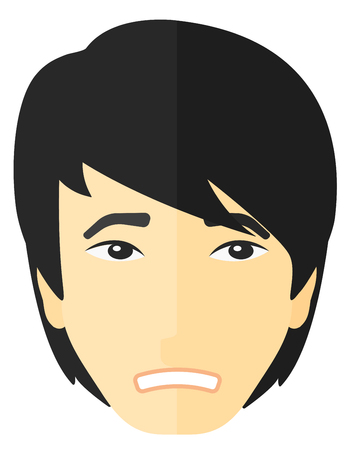 disappointment: Young embarrassed man vector flat design illustration isolated on white background.