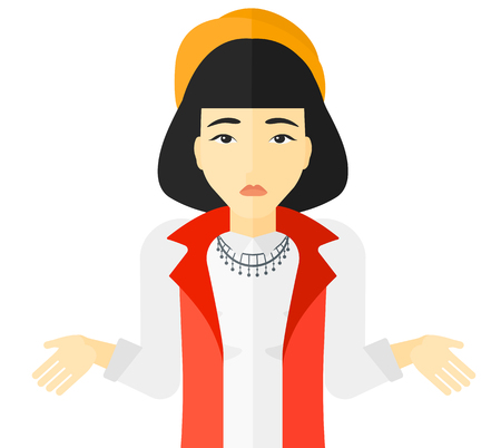 confused face: Confused woman shrugging her shoulders vector flat design illustration isolated on white background.