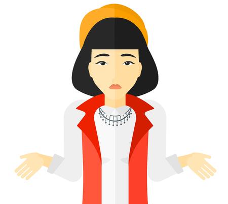 confundido: Mujer confusa encogiéndose de hombros vector Ilustración diseño plano aislado en fondo blanco.