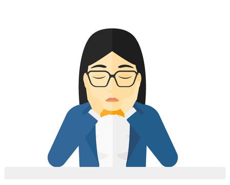 Mujer ansiosa agarrando la cabeza del vector diseño plano ilustración aislado sobre fondo blanco. Ilustración de vector