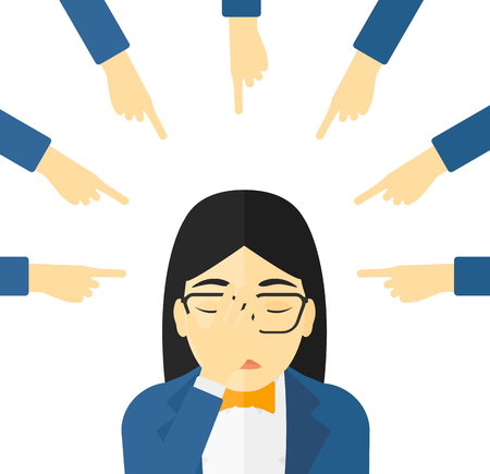 woman looking down: Guilty woman looking down covering face with her hand and many fingers around pointing  Illustration