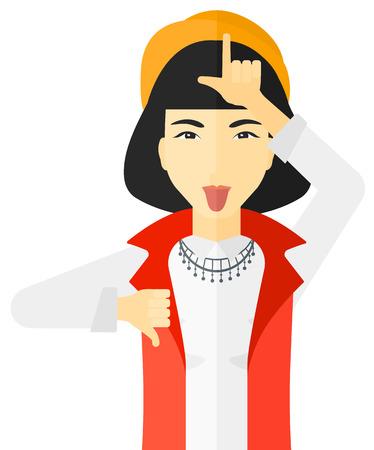 contempt: Mujer despectivo sacando la lengua y que muestra el pulgar hacia abajo signo vector de diseño plano ilustración aislado sobre fondo blanco.