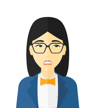asian girl face: Embarrassed woman in glasses vector flat design illustration isolated on white background.