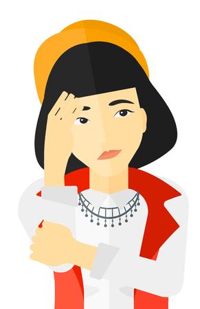 avergonzado: Avergonzado mujer que cubre la cara con su mano vector diseño plano ilustración aislado sobre fondo blanco. Vectores