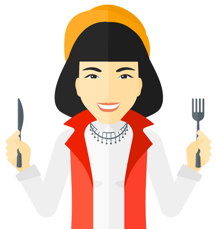 starving: Hungry woman with fork and knife raised vector flat design illustration isolated on white background.