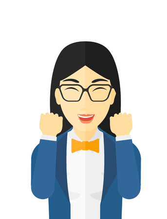 delight: Cheerful woman in euphoria with raised hands and closed eyes vector flat design illustration isolated on white background. Illustration