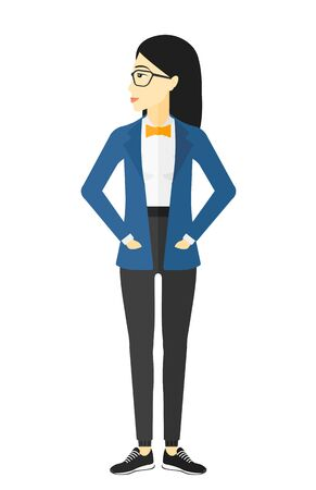prideful: Young woman proud of herself vector flat design illustration isolated on white background.