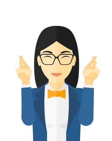 Hoopvolle vrouw die vingers gekruist en de ogen gesloten vector platte ontwerp illustratie op een witte achtergrond.