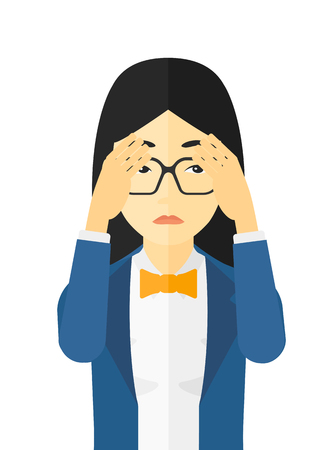frustration: Repentant woman clutching her head vector flat design illustration isolated on white background.