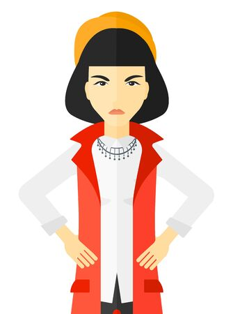 Detesting angry woman with hands on hips vector flat design illustration isolated on white background.