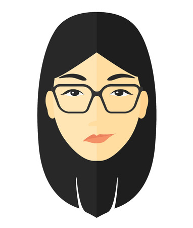 irate: Envious woman in glasses vector flat design illustration isolated on white background.