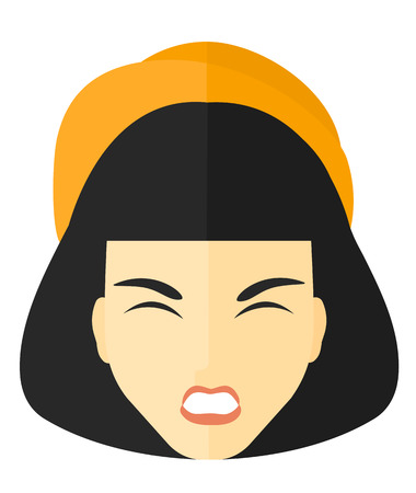brawl: Screaming aggressive woman vector flat design illustration isolated on white background.