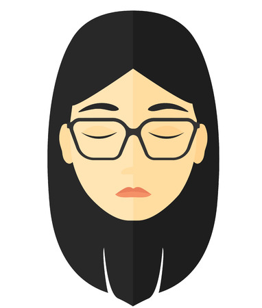 asian woman: Grieving woman with eyes closed vector flat design illustration isolated on white background.