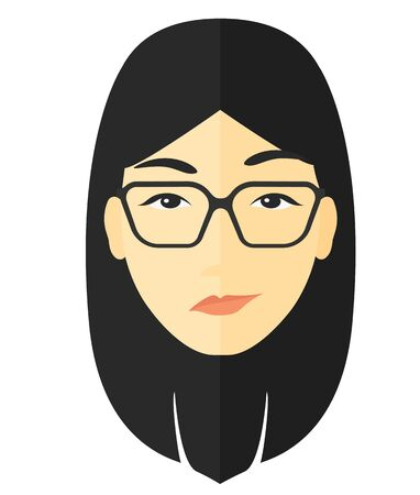 sneaky: Envious woman in glasses vector flat design illustration isolated on white background.