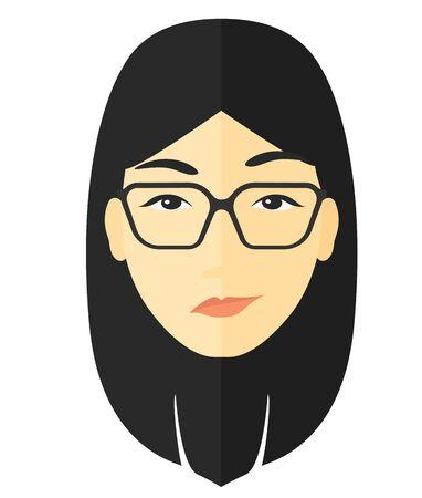 Neidische Frau in Gläser Vektor flaches Design Illustration isoliert auf weißem Hintergrund.