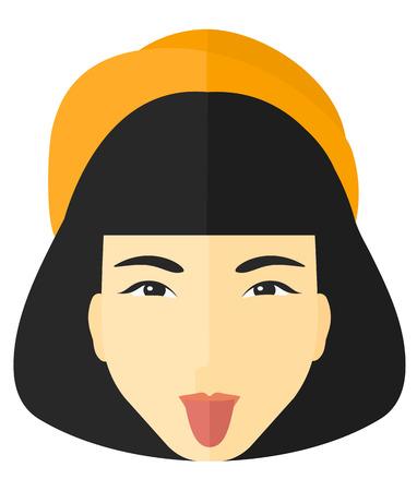 desprecio: Mujer despectivo sacando la lengua vector diseño plano ilustración aislado sobre fondo blanco.