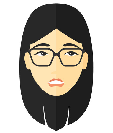 shame: Young embarrassed woman vector flat design illustration isolated on white background. Illustration