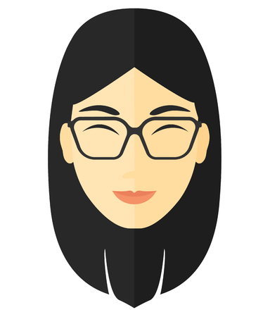 Pleased woman with her eyes closed vector flat design illustration isolated on white background.