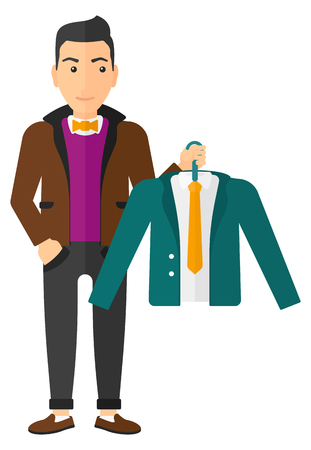 choosing clothes: A man holding in hand a hanger with a jacket  vector flat design illustration isolated on white background.