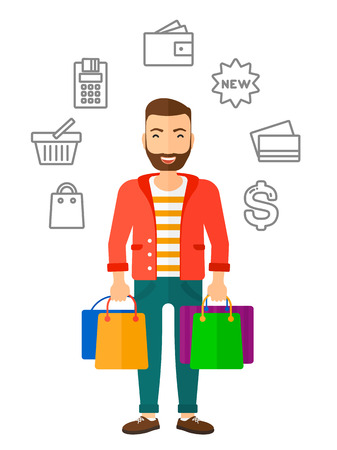 him: A hipster customer with bags and some shopping icons around him vector flat design illustration isolated on white background. Illustration