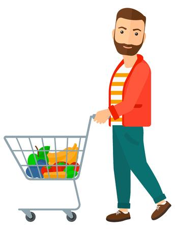 일부 상품에 슈퍼마켓 카트를 추진하는 사람 (남자). 벡터 평면 디자인 일러스트 레이 션 흰색 배경에 고립.