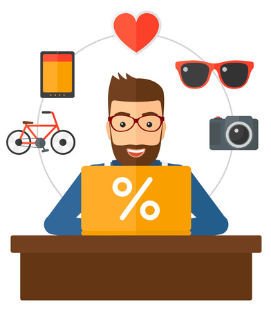 internet shop: A man sitting in front of laptop with some icons of goods around him vector flat design illustration isolated on white background. Illustration