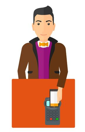 using smartphone: A customer paying with his smartphone using terminal vector flat design illustration isolated on white background.