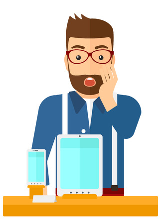 astonished: An astonished man looking at digital tablet and smartphone through the shop window vector flat design illustration isolated on white background. Illustration