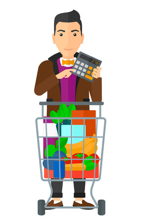 A man standing with shopping cart and a calculator in hands vector flat design illustration isolated on white background.