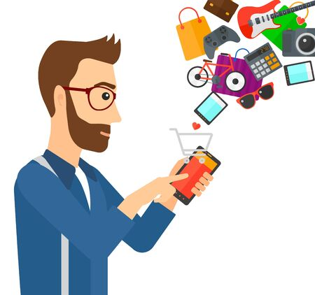 A man holding a smartphone with shopping cart and application icons flying out vector flat design illustration isolated on white background.