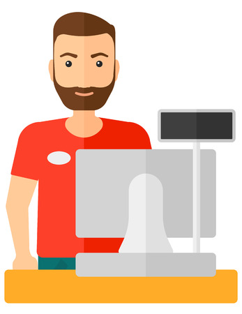 checkout: A salesman standing at checkout vector flat design illustration isolated on white background.