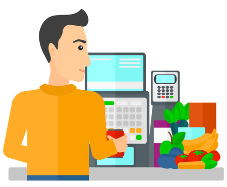 A cashier at supermarket counter vector flat design illustration isolated on white background. Ilustracja