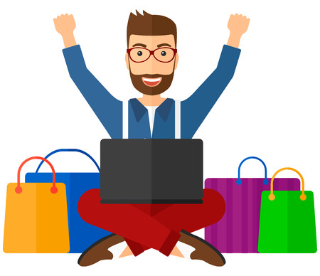 white goods: A man sitting in front of laptop with hands up and some bags of goods nearby vector flat design illustration isolated on white background. Illustration