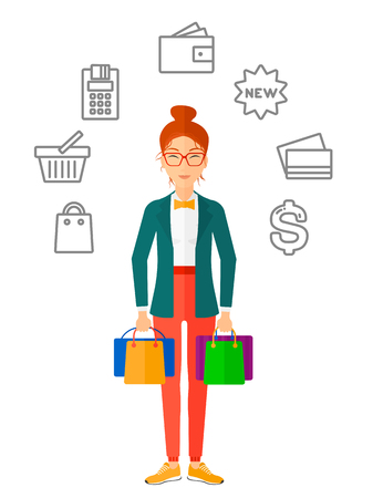 woman holding money: A woman with bags in hands and some shopping icons around her vector flat design illustration isolated on white background.