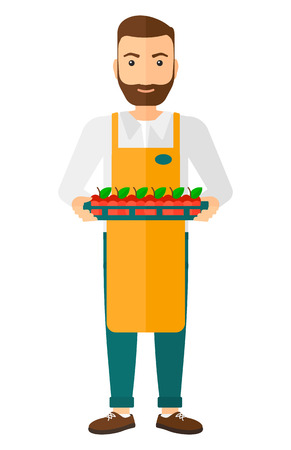 work crate: A surpermarket worker holding a box with apples  Illustration