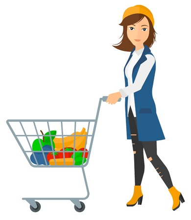 cart: A woman pushing a supermarket cart with some goods