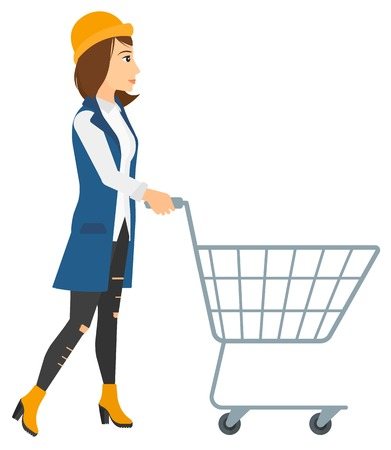 A woman pushing an empty supermarket cart vector flat design illustration isolated on white background.
