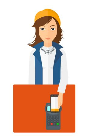 A woman paying with her smartphone using terminal vector flat design illustration isolated on white background.