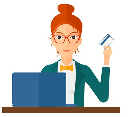 woman credit card: A woman sitting in front of laptop with credit card in hand making purchases online vector flat design illustration isolated on white background.