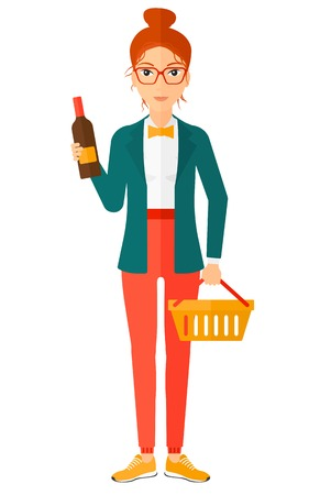 shopping champagne: A woman with shopping basket holding a bottle of wine vector flat design illustration isolated on white background.