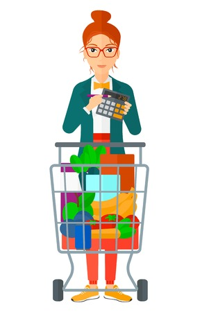 mujer en el supermercado: Una mujer de pie con el carro y una calculadora en la mano ilustración vectorial diseño plano aislado en el fondo blanco.