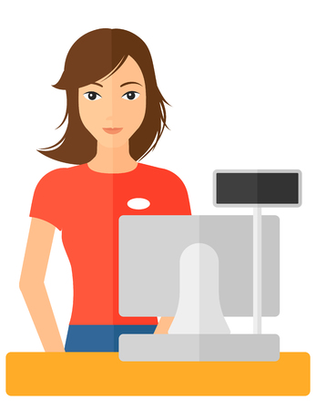 Een verkoopster staan bij de kassa vector platte ontwerp illustratie op een witte achtergrond.