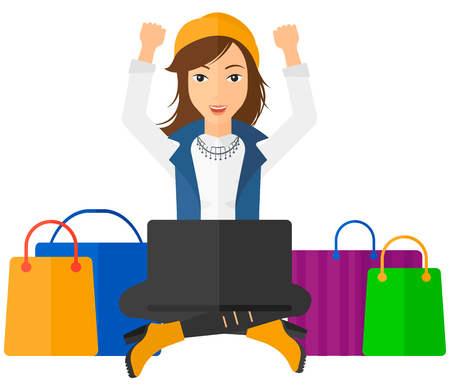 A woman sitting in front of laptop with hands up and some bags of goods nearby vector flat design illustration isolated on white background.