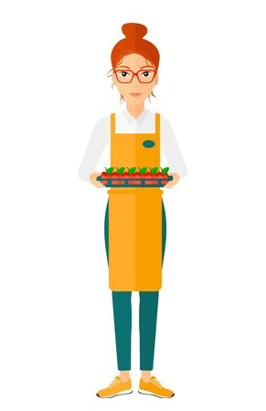 saleslady: A surpermarket worker holding a box with apples vector flat design illustration isolated on white background.