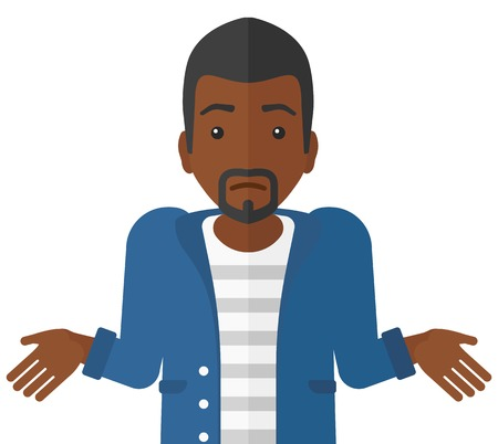 shrugging: Confused an african-american man shrugging his shoulders vector flat design illustration isolated on white background. Illustration