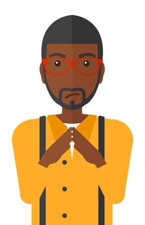 scheming: Envious an african-american man rubbing his hands vector flat design illustration isolated on white background. Illustration