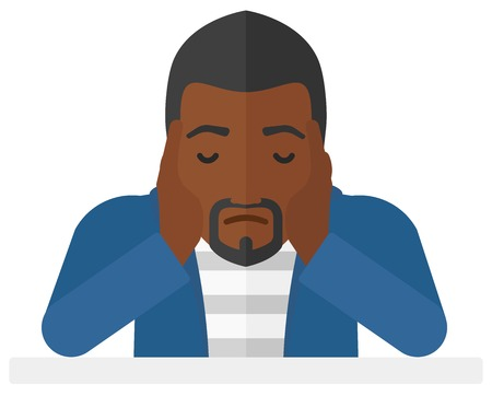 Anxious an african-american man clutching his head vector flat design illustration isolated on white background. Illustration